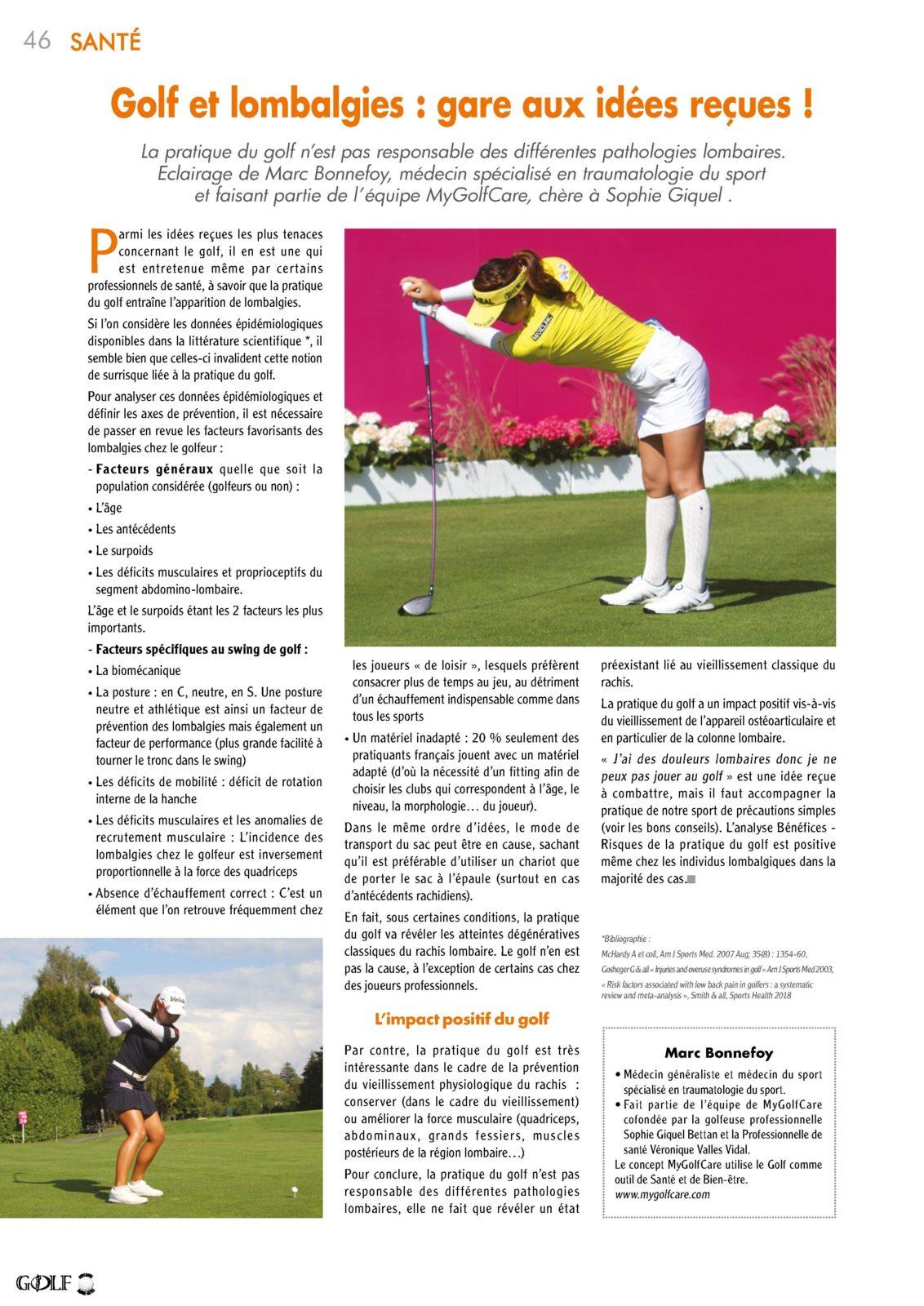 Golf - Lombalgie - Sport - Santé